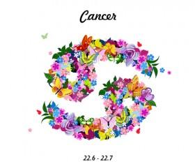 Vector horoscope flower set 08
