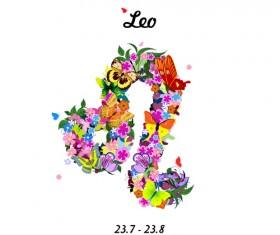Vector horoscope flower set 09