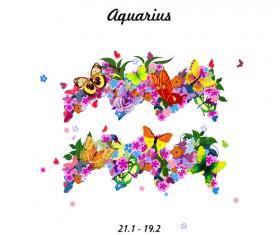 Vector horoscope flower set 11