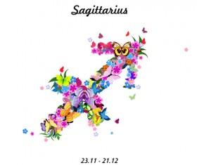 Vector horoscope flower set 12