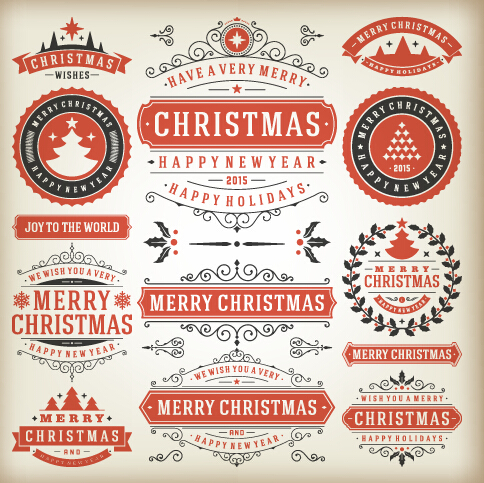 Vintage 2015 christmas labels creative vector 01