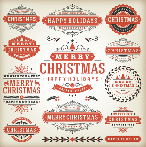 Vintage 2015 christmas labels creative vector 03