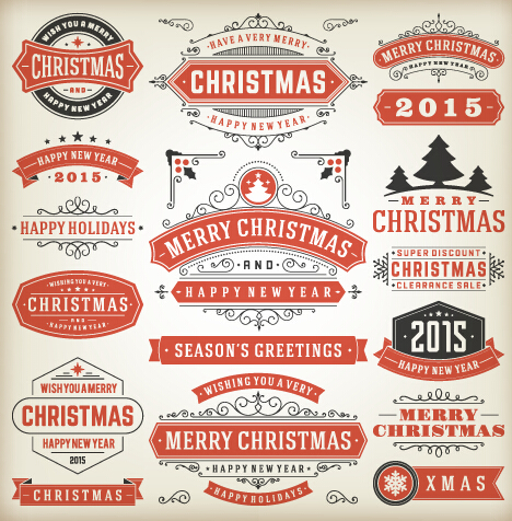 Vintage 2015 christmas labels creative vector 05