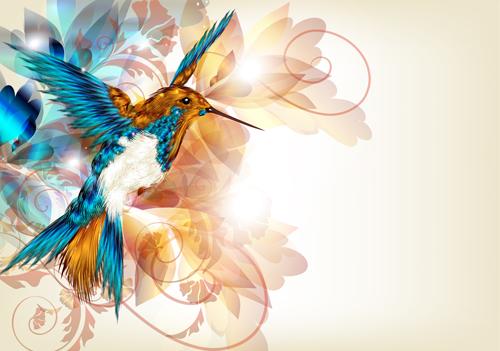 Vintage flower and birds background art vector 01