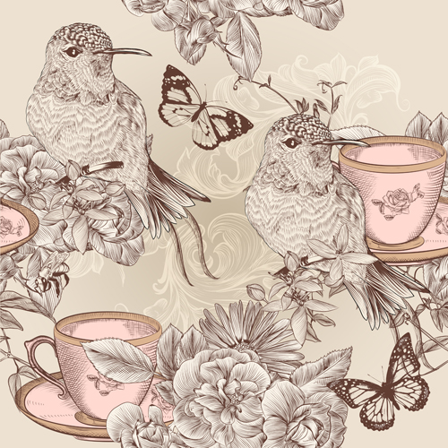 vintage flower and birds background art vector 02 vector