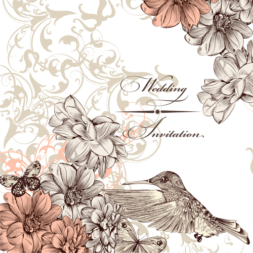 Vintage flower and birds background art vector 04