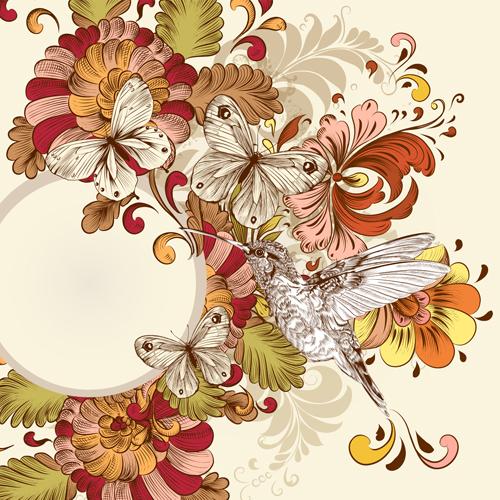 Vintage flower and birds background art vector 05