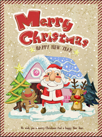 Vintage merry christmas poster vector material