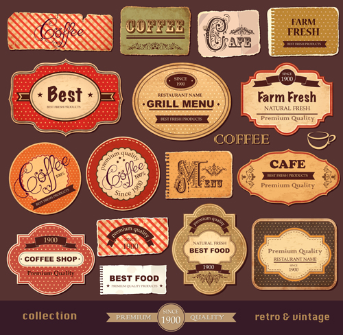 Vintage paper coffee labels vector - Vector Label free download