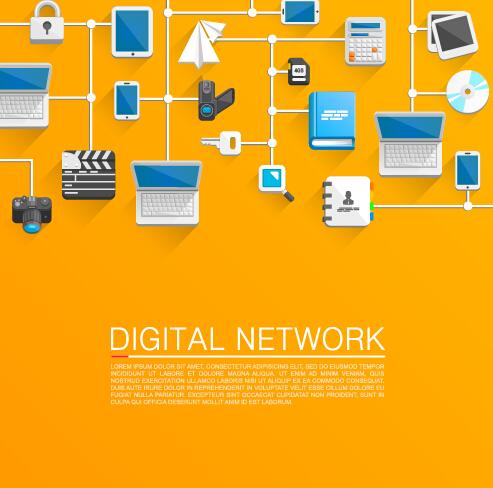 digital network vector background