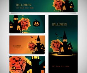 halloween night banner with cards vector