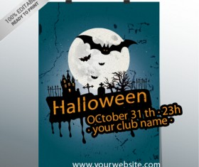 halloween party night poster design vector 01