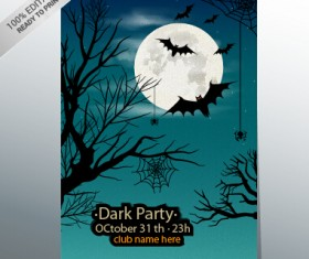 halloween party night poster design vector 03