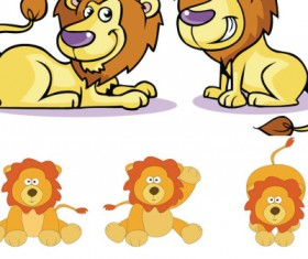Cartoon lion vector icons