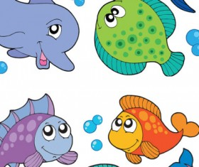 Cartoon fishes vector