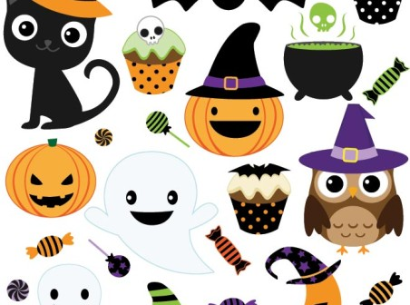 Vector happy Halloween icons design elements