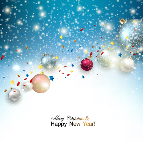 2015 christmas and new year baubles background vector 01