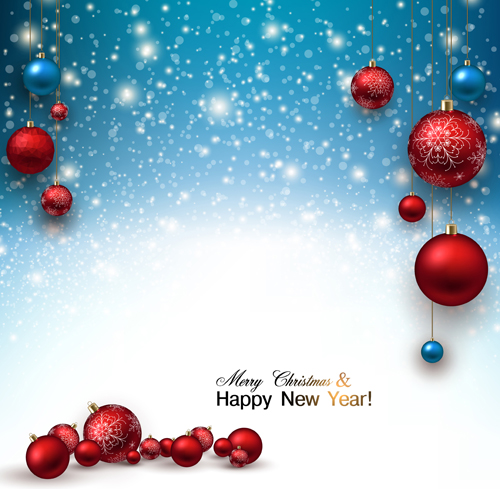 2015 christmas and new year baubles background vector 05