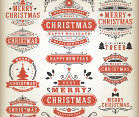 2015 Christmas sales labels vintage vector 01