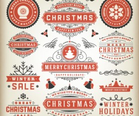 2015 Christmas sales labels vintage vector 02