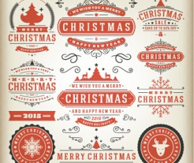 2015 Christmas sales labels vintage vector 03