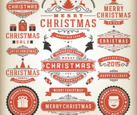 2015 Christmas sales labels vintage vector 04