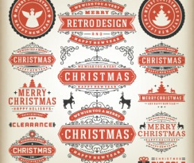 2015 Christmas sales labels vintage vector 05