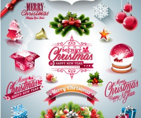 2015 Merry Christmas design elements ornament illustration vector