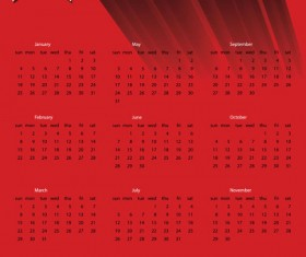 2015 New year calendar red vector