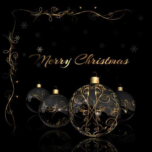 2015 christmas black background with glass baubles vector 02 ...