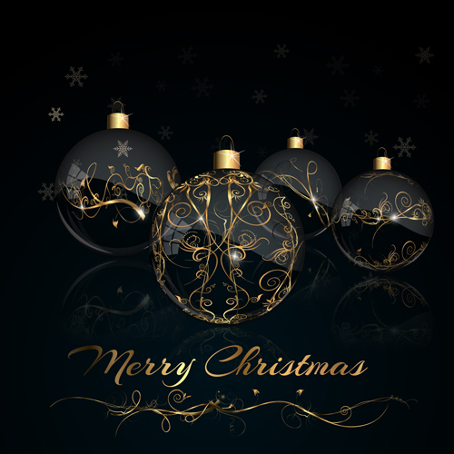 2015 christmas black background with glass baubles vector 03 ...