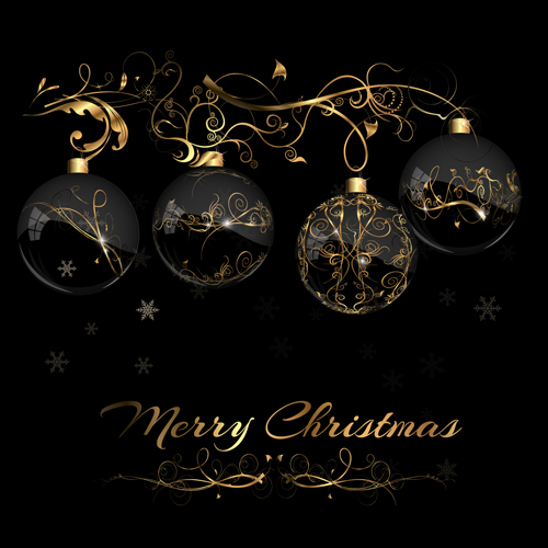 2015 christmas black background with glass baubles vector 04