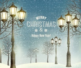 2015 christmas street lamp and snow background 01