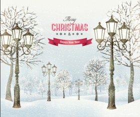 2015 christmas street lamp and snow background 02