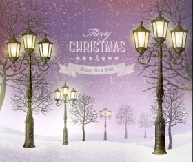 2015 christmas street lamp and snow background 03