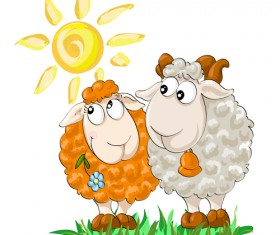 2015 new year with christmas and funny sheep vector 01