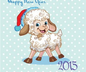 2015 new year with christmas and funny sheep vector 03