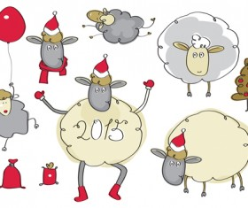 2015 new year with christmas and funny sheep vector 04