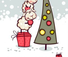 2015 new year with christmas and funny sheep vector 05