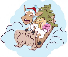 2015 new year with christmas and funny sheep vector 06