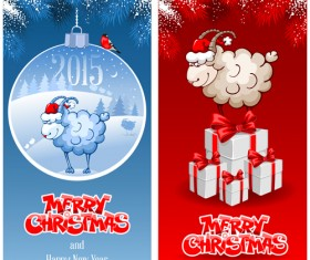 2015 new year with christmas sheep cards vector