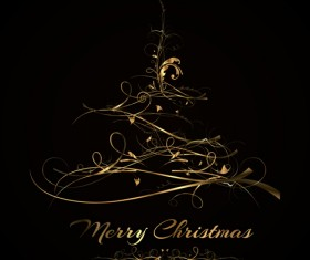 Abstract golden christmas tree background vector