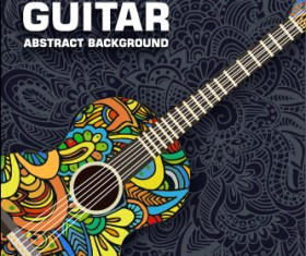 Art guitar abstract background vector 01