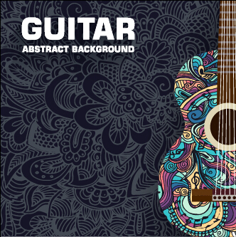 Art guitar abstract background vector 02