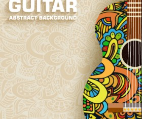 Art guitar abstract background vector 03