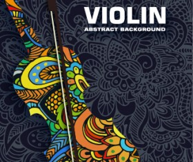 Art violin abstract background vector 01