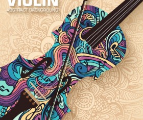Art violin abstract background vector 02