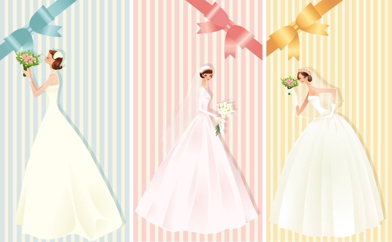 beautiful bride with bow wedding card vector
