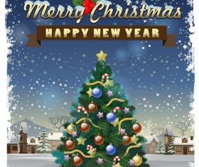 Beautiful christmas tree with new year poster vector