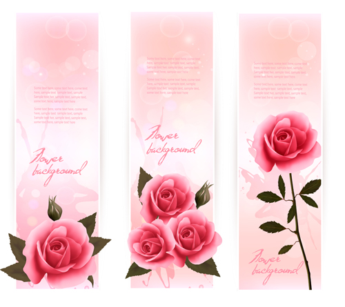 Beautiful Rose Vertical Banner Vector Vector Banner Free